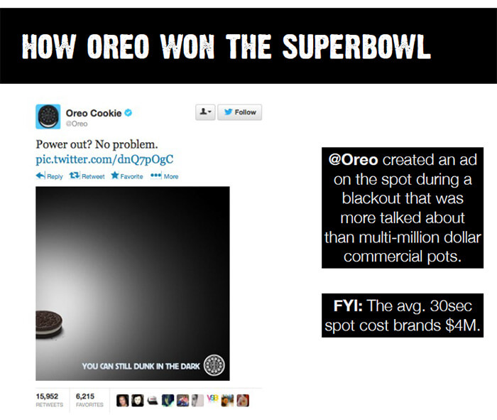 how oreo won the superbowl via newsjacking