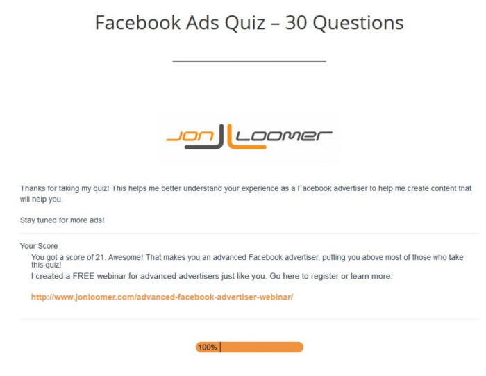 facebook ads quiz moby siddique results